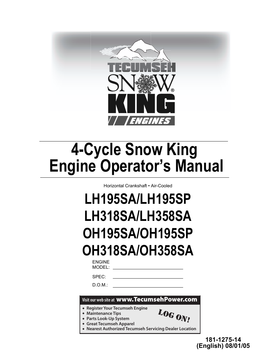 Tecumseh SNOW KING LH195SA User Manual | 32 pages | Also for: SNOW