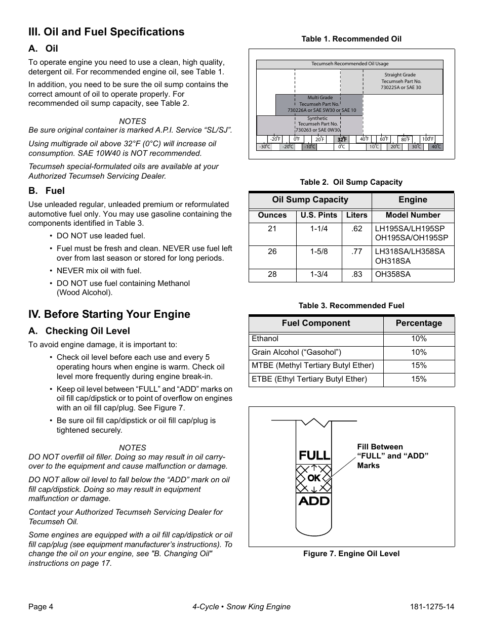 iii oil and fuel specifications a oil b fuel tecumseh snow rh manualsdir com Tecumseh Engine Identification Chart 10 hp tecumseh snow king engine manual