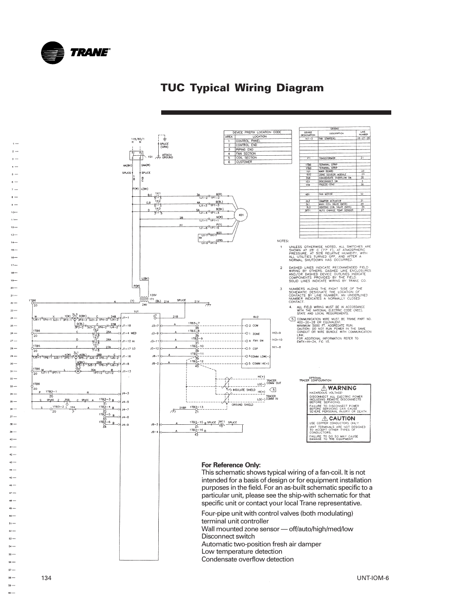 Tuc Typical Wiring Diagram Trane Lo User Manual Page 134 136 Fan Coil Unit