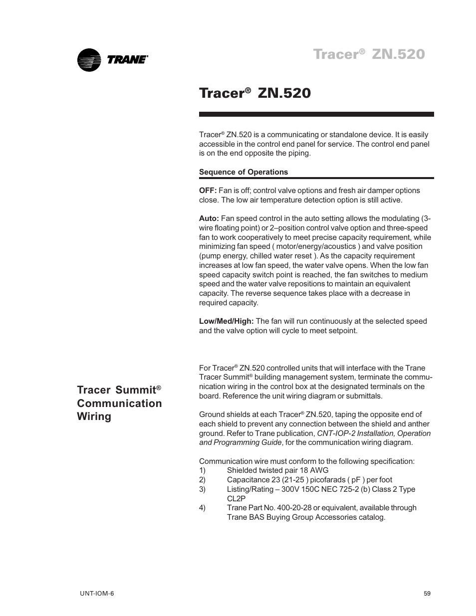 Tracer Zn520 59 Trane Lo User Manual Page Communication Wire Diagram Summit