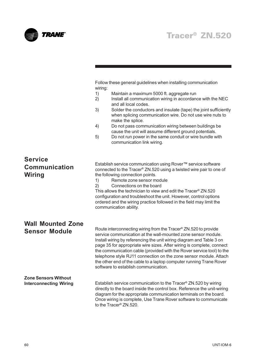 Tracer, Zn.520 | Trane LO User Manual | Page 60 / 136 on lights in walls, painting in walls, windows in walls, doors in walls, pipes in walls, heating in walls, insulation in walls, plumbing in walls, conduit in walls, plugs in walls, cable in walls, outlets in walls,