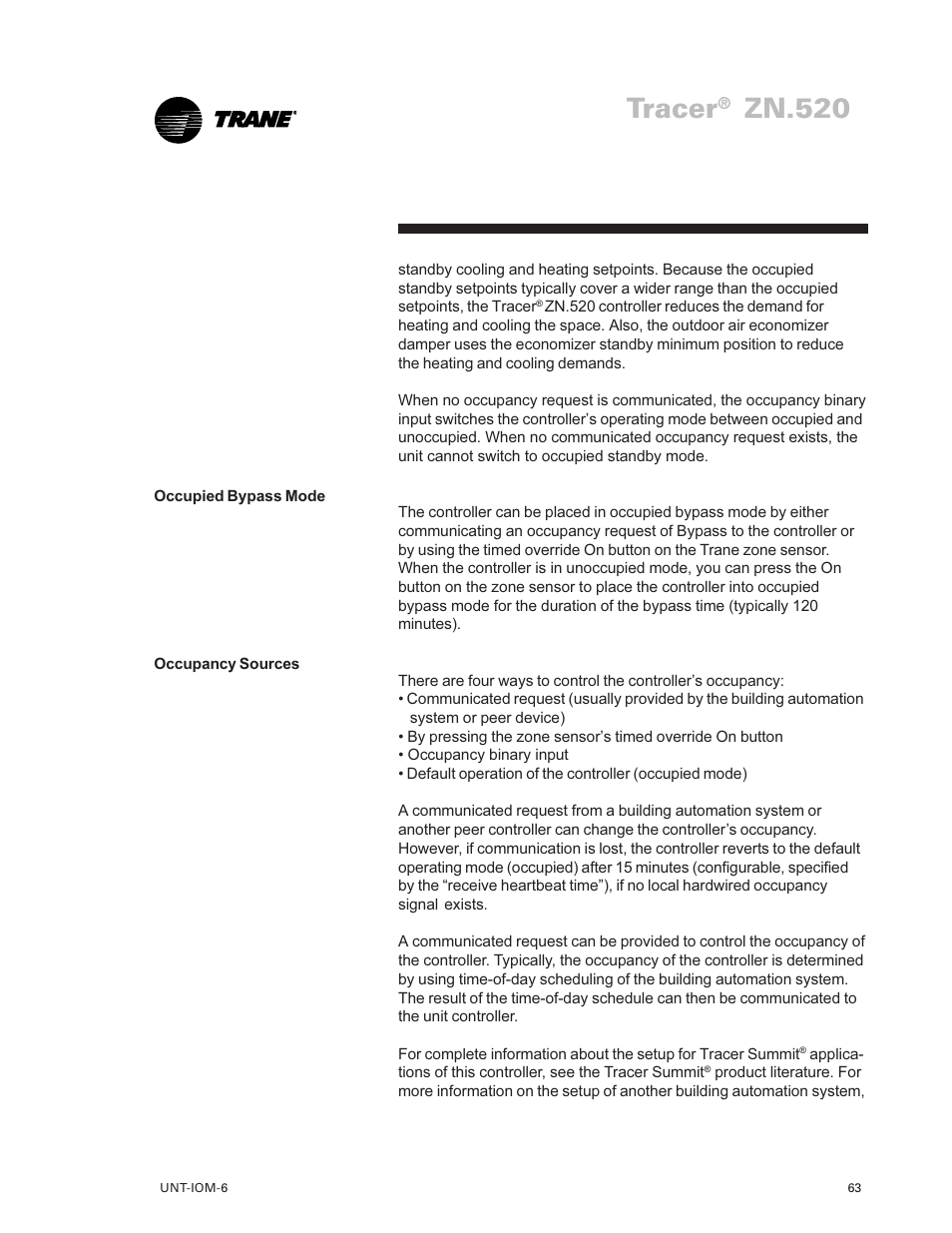Tracer, Zn 520 | Trane LO User Manual | Page 63 / 136 | Original mode