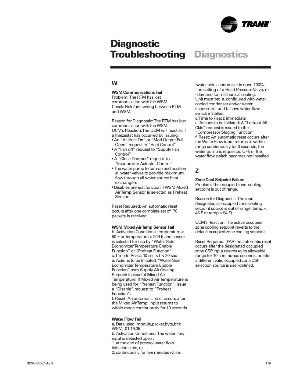 Diagnostic troubleshooting diagnostics | Trane IntelliPak SCWG 020 User  Manual | Page 119 / 124