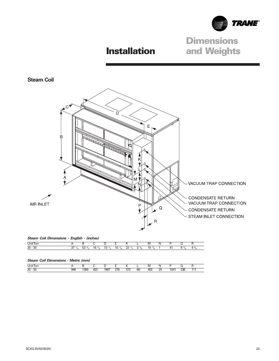 Trane Steam Coil New Photos Rauc Wiring Diagram Dimensions And Weights Installation Intellipak
