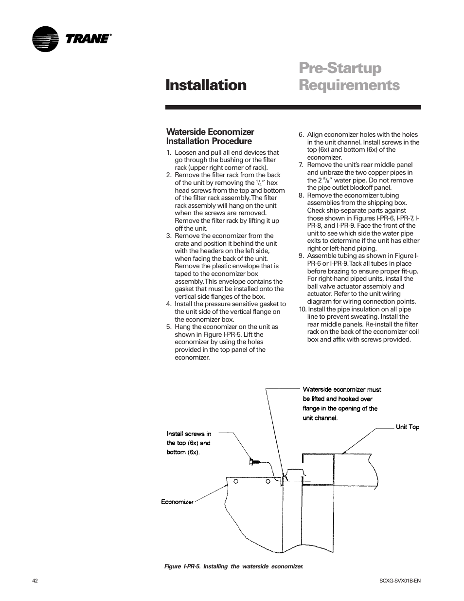 Pre Startup Requirements Installation Waterside Economizer Trane Wiring Diagrams Procedure Intellipak Scwg 020 User Manual Page 42 124