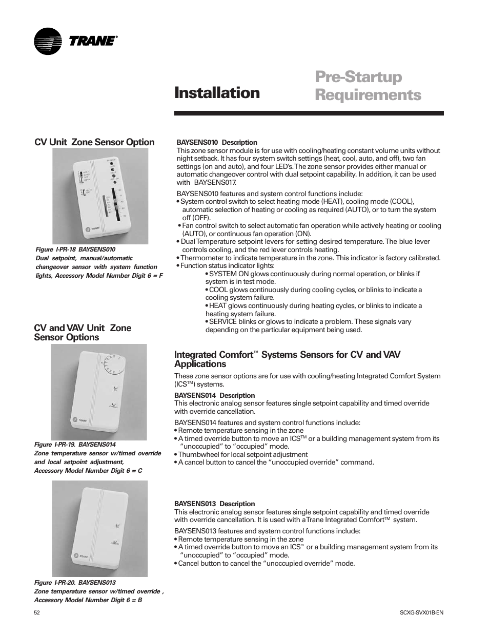 Pre-startup requirements, Installation, Cv unit zone sensor option | Trane  IntelliPak SCWG 020 User Manual | Page 52 / 124