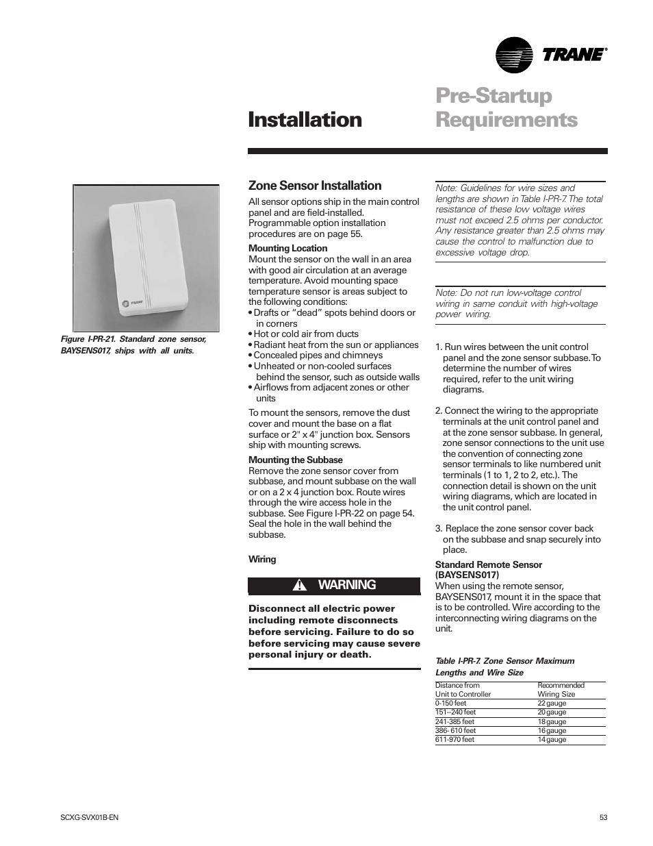 pre-startup requirements, installation, zone sensor installation | trane  intellipak scwg 020 user manual | page 53 / 124