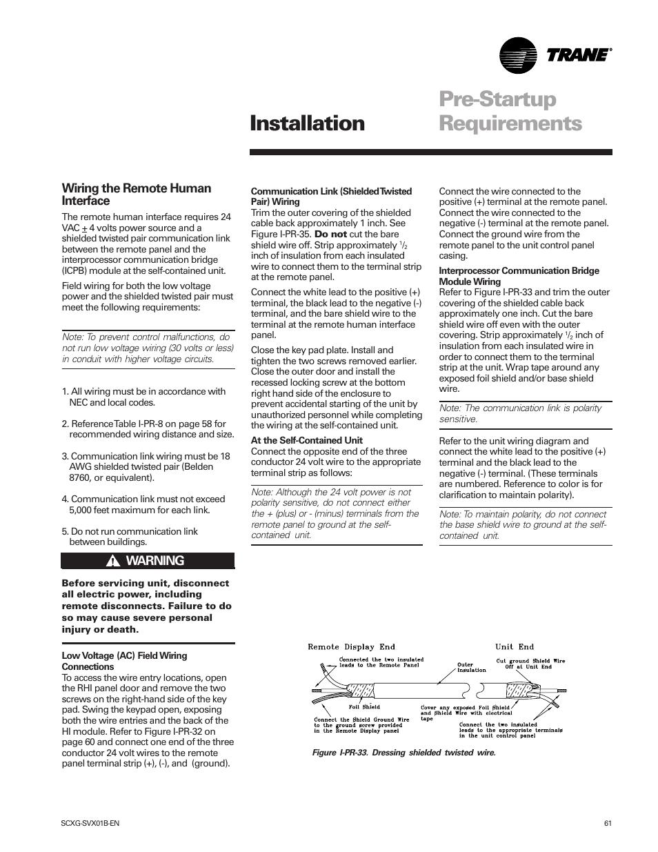 Pre-startup requirements installation | Trane IntelliPak SCWG 020 ...