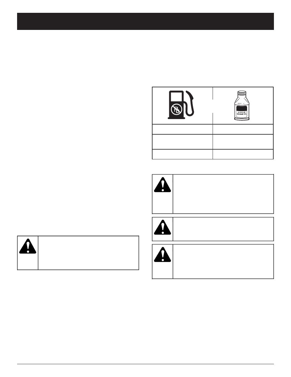 warning caution oil and fuel information troy bilt tb15cs user rh manualsdir com
