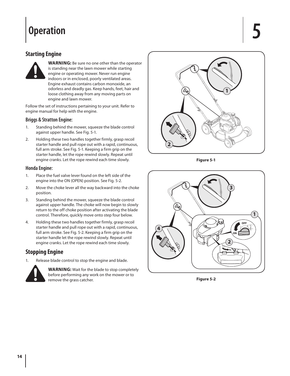 Operation, Starting engine, Stopping engine | Troy-Bilt