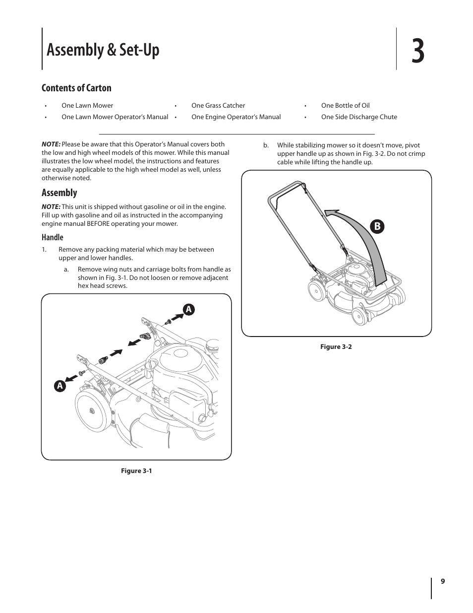Assembly & set-up, Contents of carton, Assembly | Troy-Bilt
