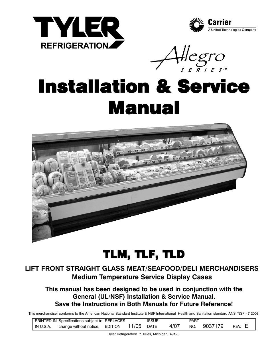 tyler refrigeration lift front straight glass meat seafood deli rh manualsdir com