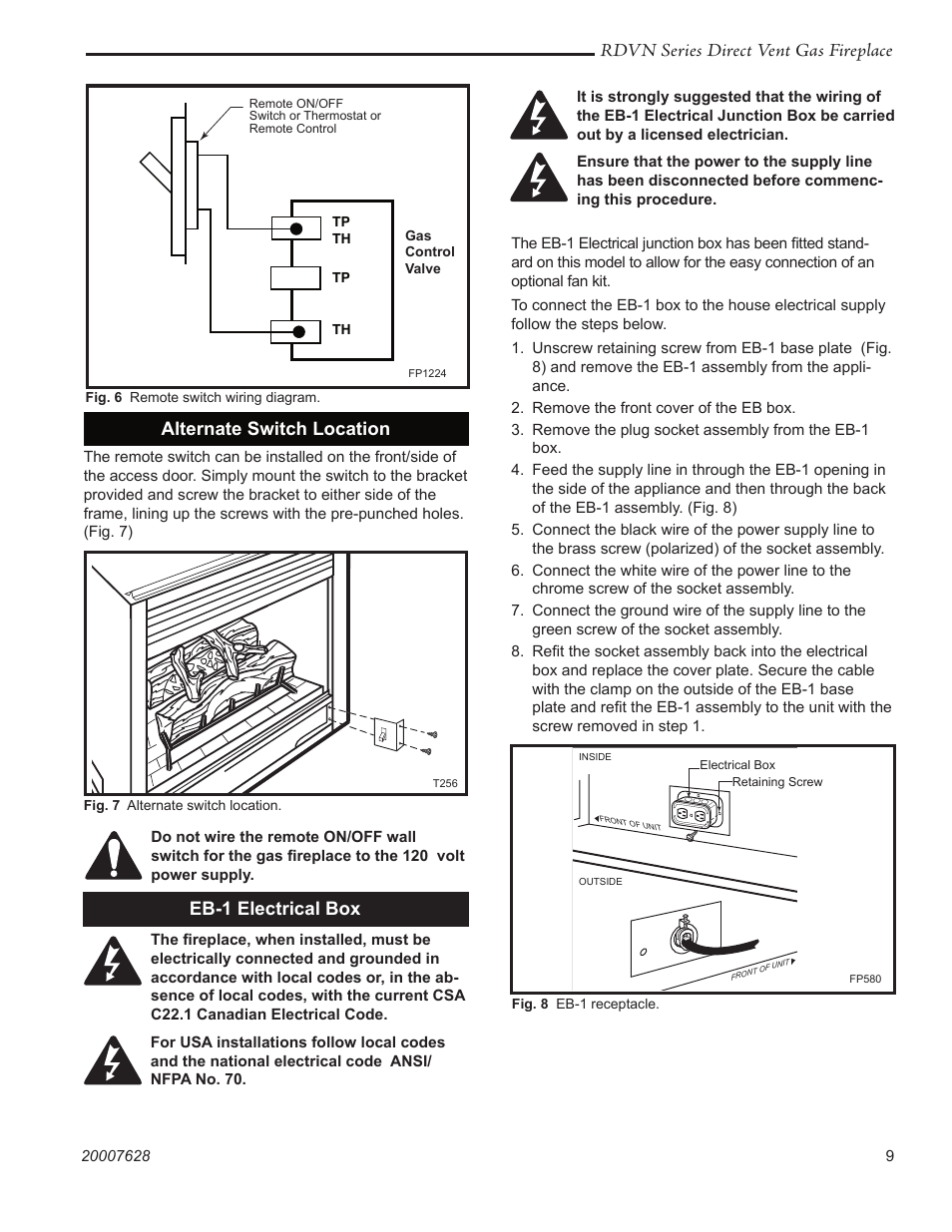 Rdvn Series Direct Vent Gas Fireplace Eb 1 Electrical Box 110 Volt Receptacle Wiring Diagram Alternate Switch Location Temco Tool 36rdvn User Manual Page 9 48