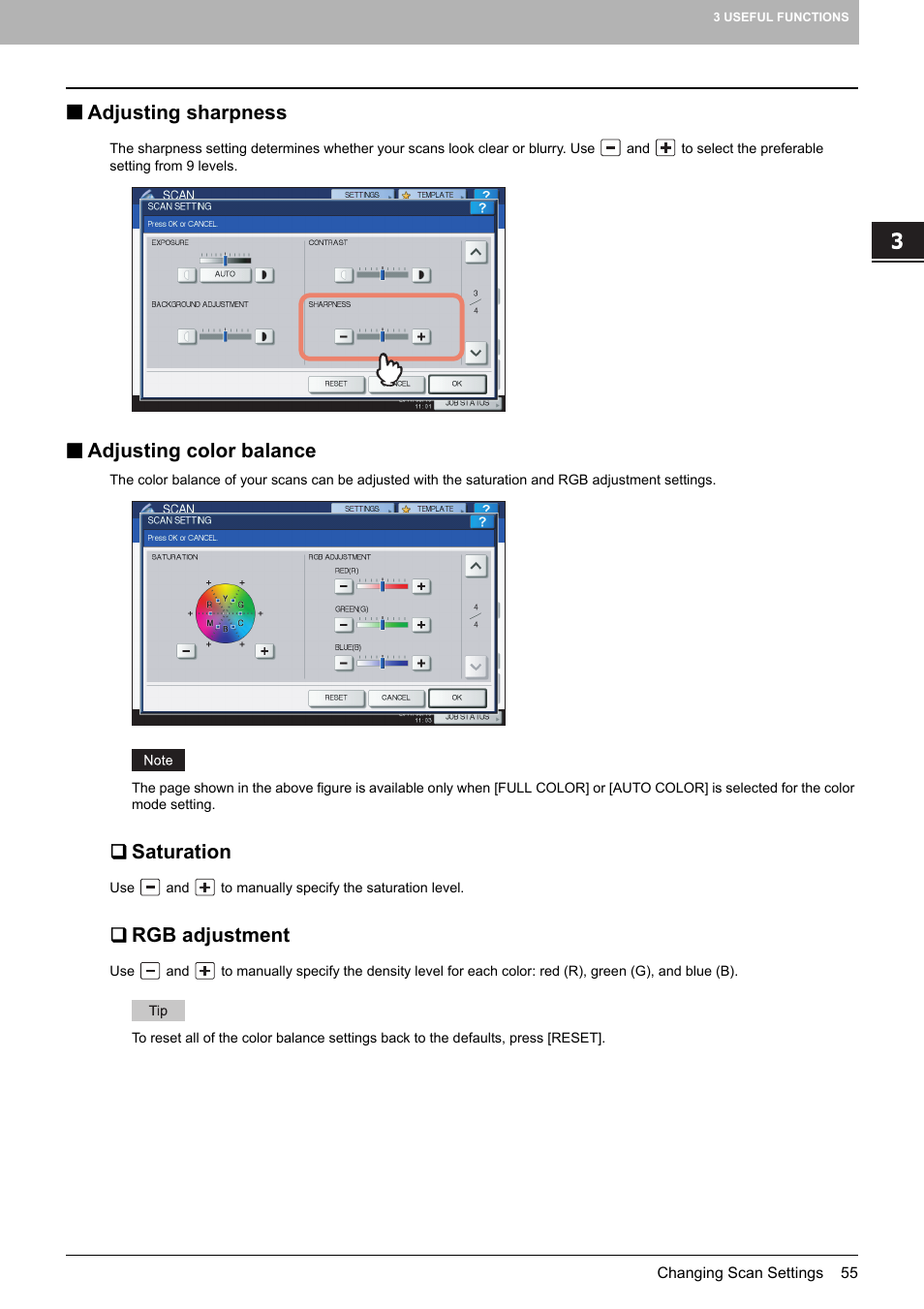 Adjusting sharpness, Adjusting color balance, Saturation | Toshiba e-STUDIO  Multifunctional Digital Systems 356SE User Manual | Page 57 / 124