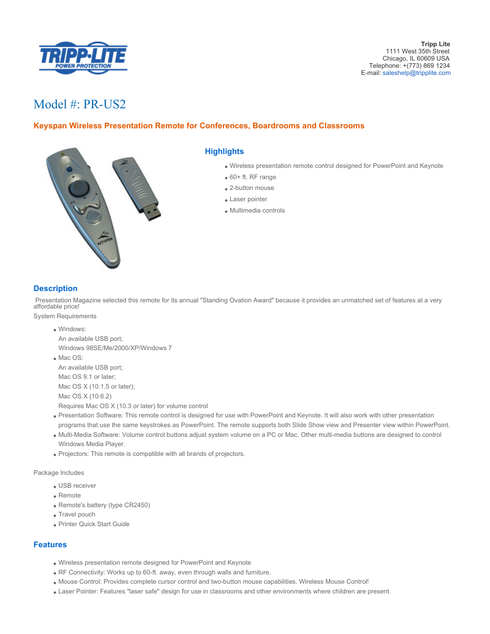 Tripp Lite Keyspan Wireless Presentation Remote PR-US2 User Manual