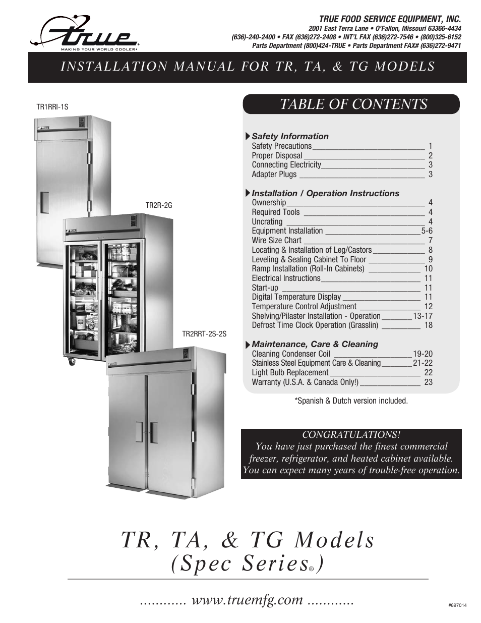True Manufacturing Company Tr1rri 1s User Manual 25 Pages Refrigeration Wiring Diagram