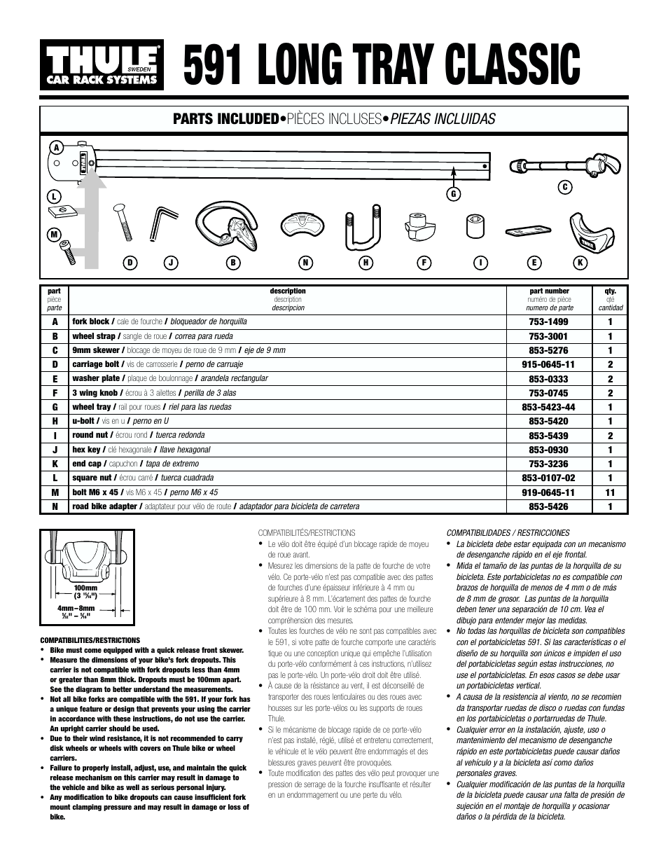 Thule Long Tray Classic 591 User Manual | 6 pages