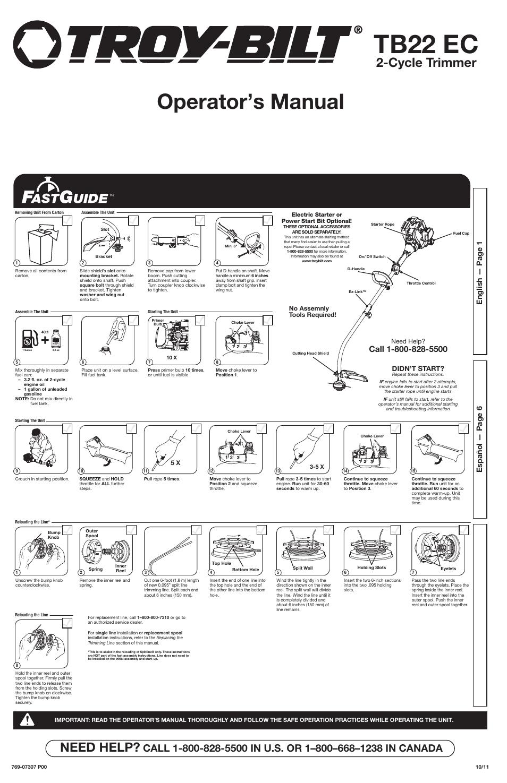 Troy Bilt Tb22 Ec User Manual 16 Pages