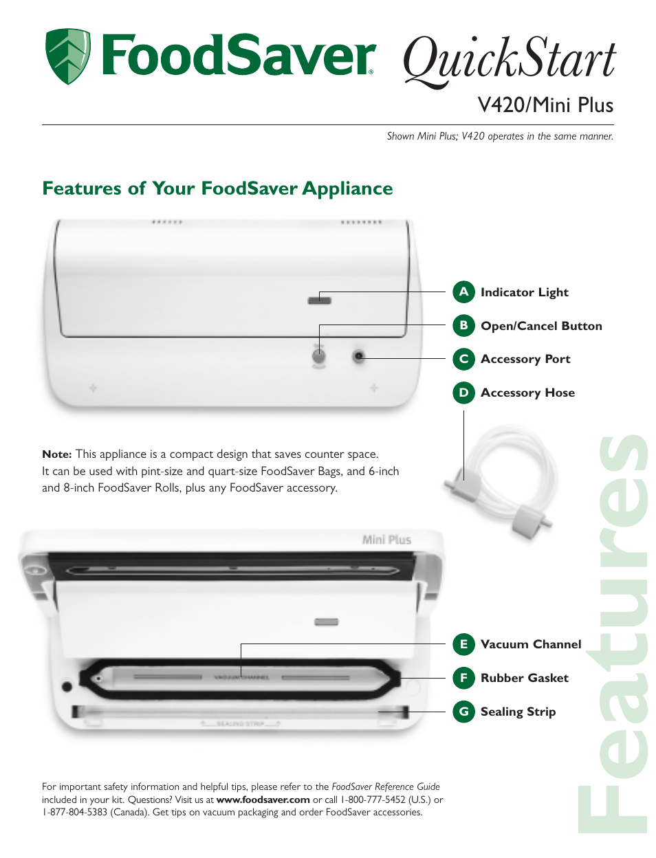 Foodsaver Mini Plus User Manual 4 Pages Also For V420
