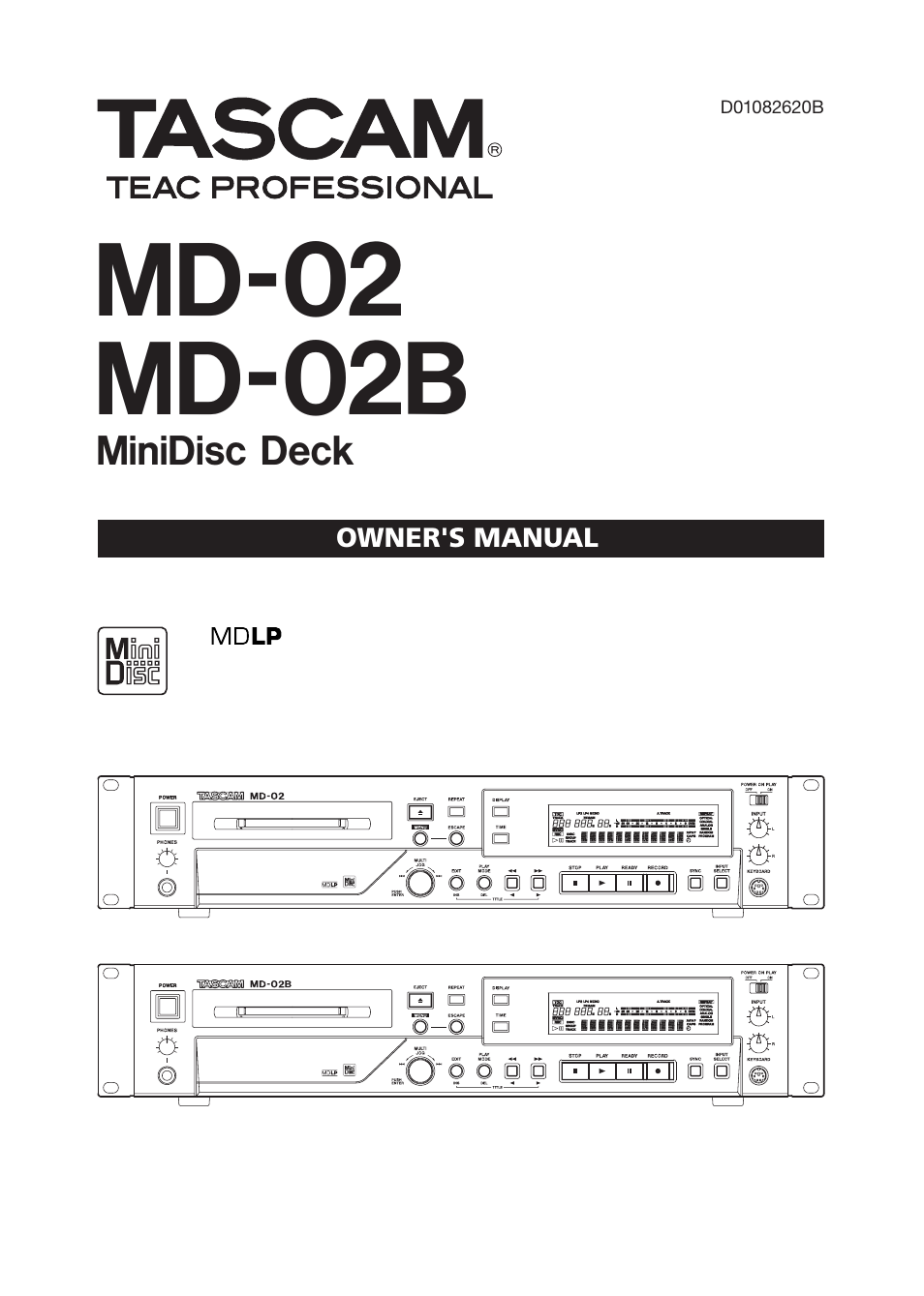 tascam md 02 user manual 40 pages also for md 02b rh manualsdir com
