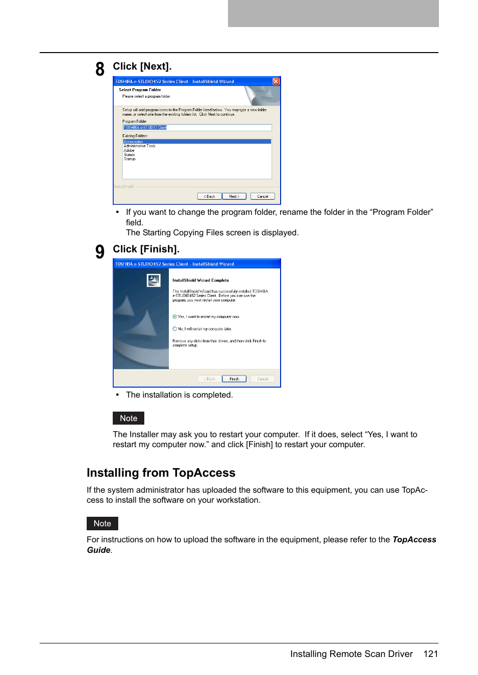 Installing from topaccess | Toshiba E-STUDIO 352 User Manual | Page