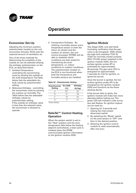 Operation, Economizer set-up, Reliatel™ control heating