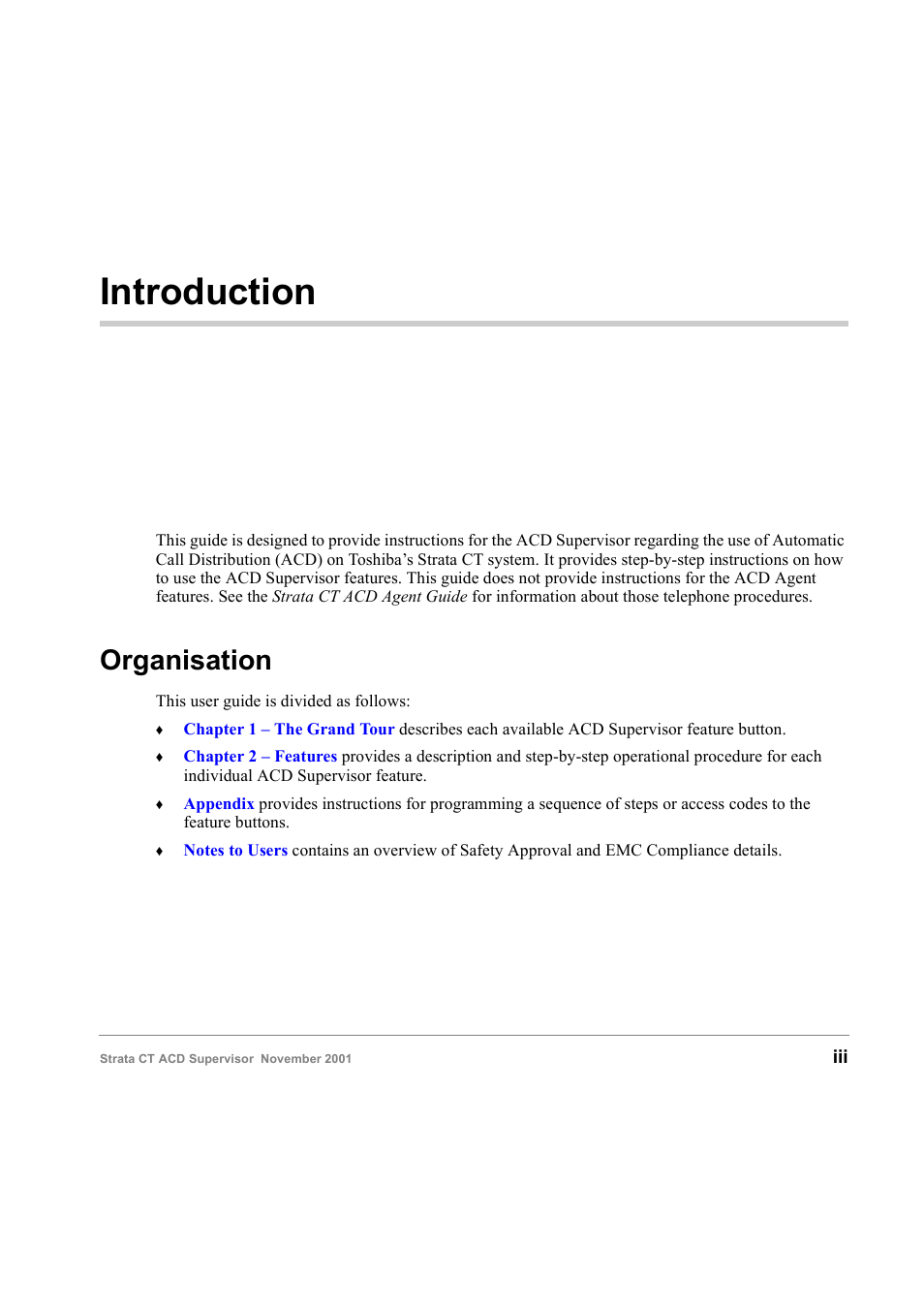 Introduction, Organisation | Toshiba Strata CT Digital Business Telephone  Solutions User Manual | Page 5 / 41