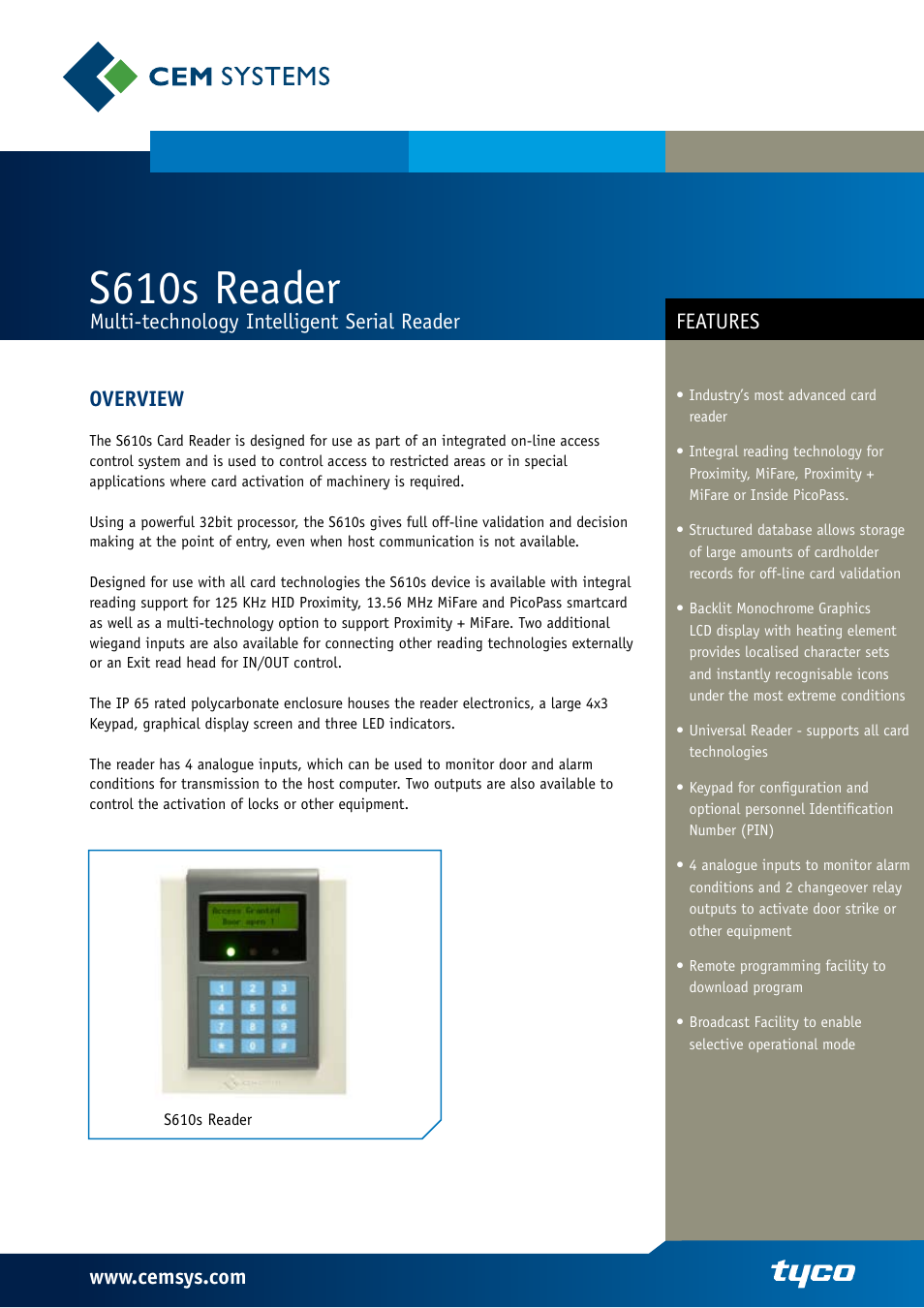 Tyco Card Reader S610s User Manual | 2 pages Tyco Door Access Control Wiring Diagram on access control door opener diagram, door frame diagram, door schematic, access control system diagram, door hinge diagram, door access controller, access control schematic diagram, door control system block diagram, door access readers, door strike intercom access control diagram, double door access control diagram, magnetic card reader diagram, entry control point diagram, door installation diagram, door access systems, door access control tools, single door access control diagram, door access control riser diagram, door access control cable, ring network topology diagram,