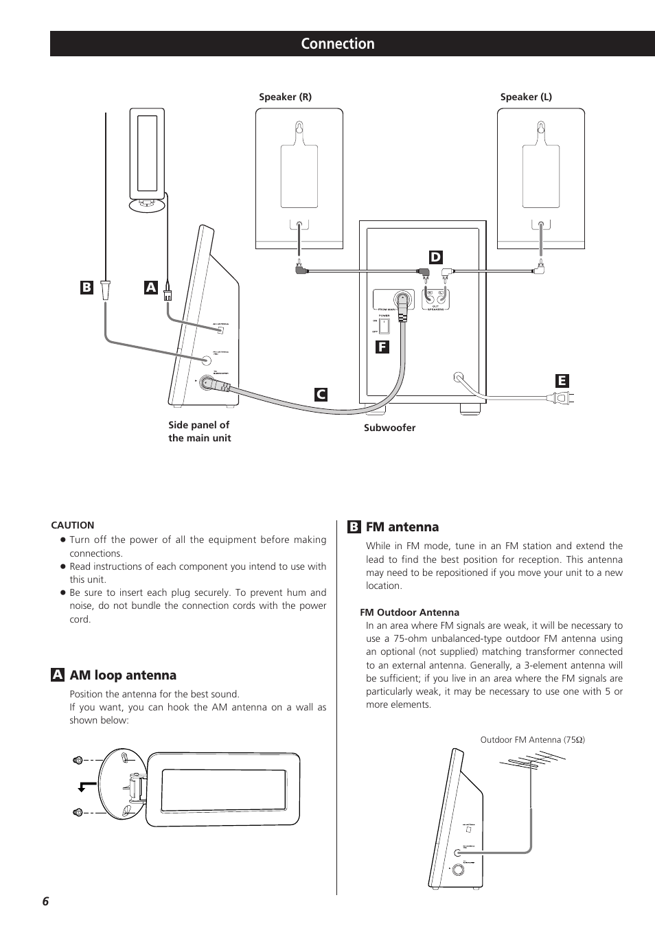 Connection   Teac CD-X9 User Manual   Page 6 / 24   Original