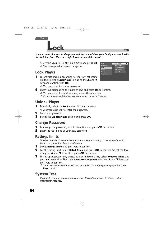 lock player unlock player change password technicolor thomson rh manualsdir com