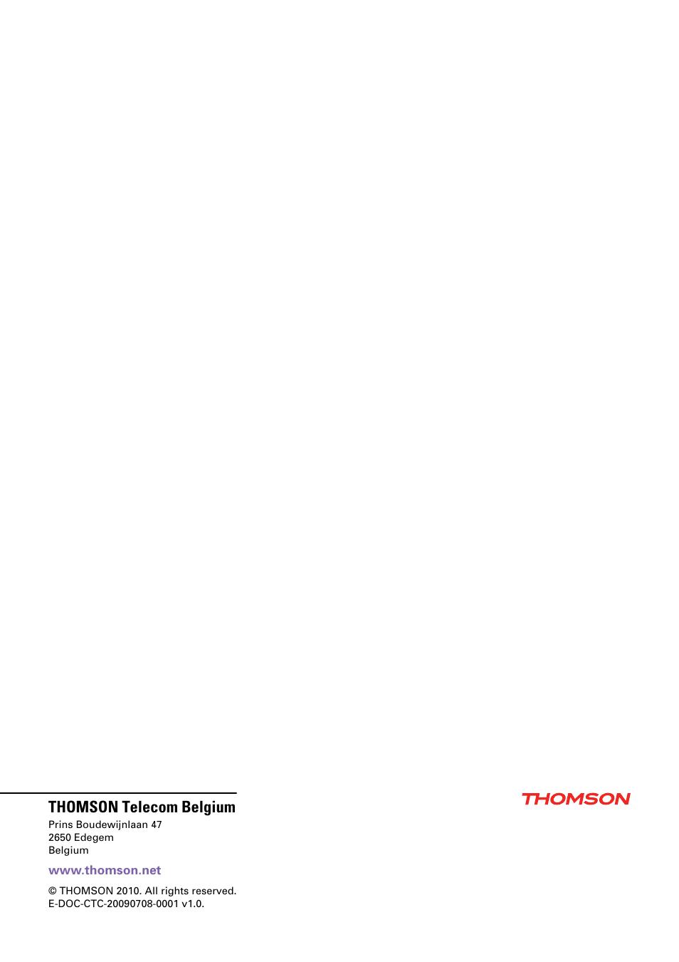 Thomson telecom belgium | Technicolor - Thomson TG585 V8 User Manual | Page  60 / 60