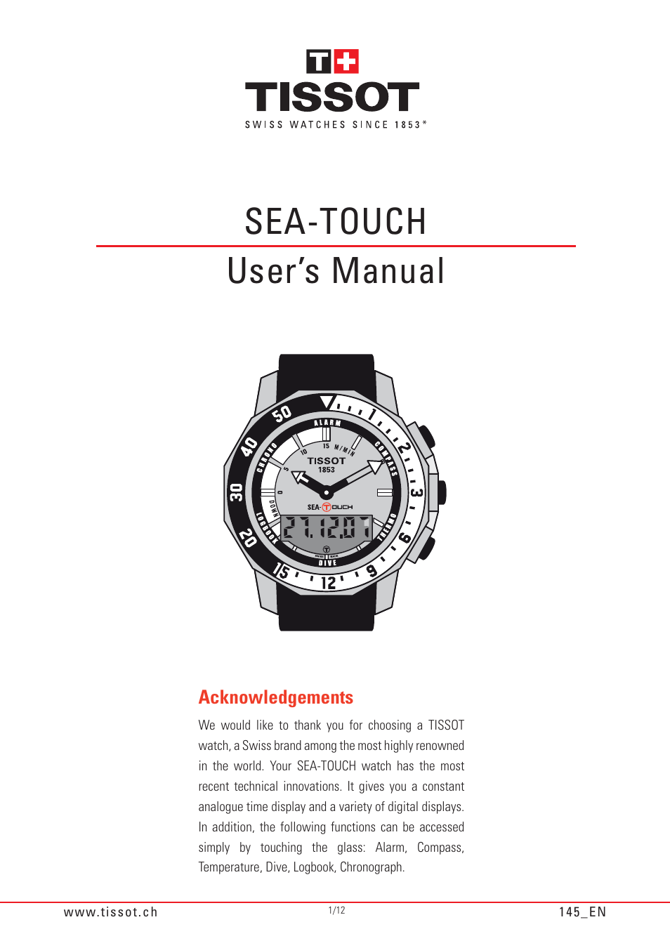 tissot sea touch 145 user manual 12 pages rh manualsdir com Watches T- Touch Tissot 1853 Touch Watch