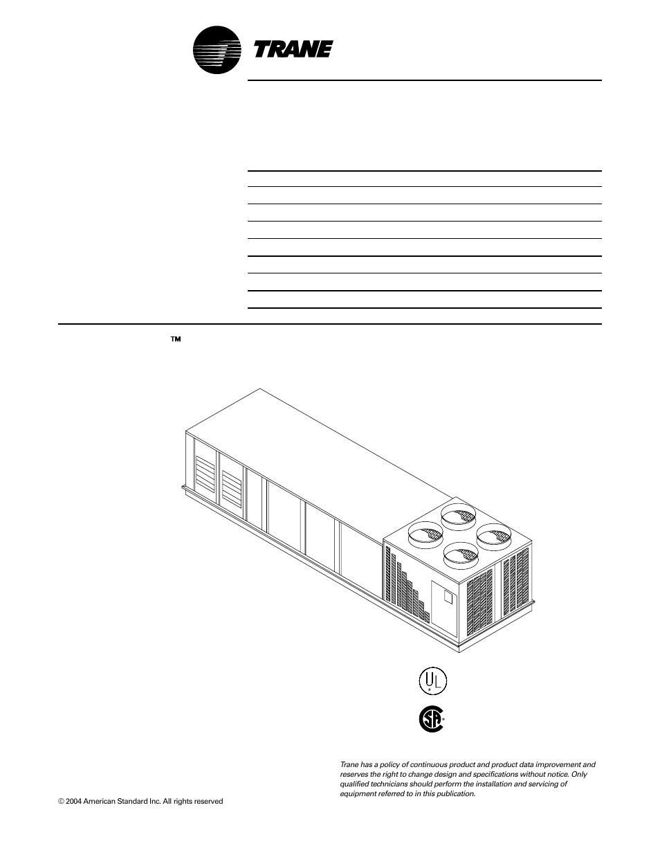 trane intellipak  u2122  u2122  u2122  u2122  u2122 commercial single