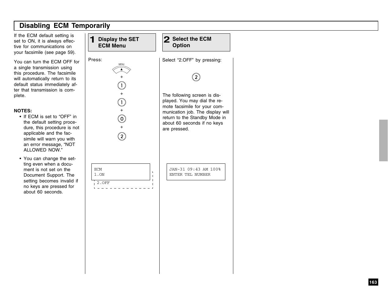 Disabling ecm temporarily | Toshiba e-STUDIO 170F User