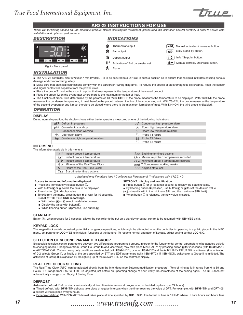 True Food International Equipment Inc Ar2 28 Instructions For Use Wiring Diagrams Description Indications