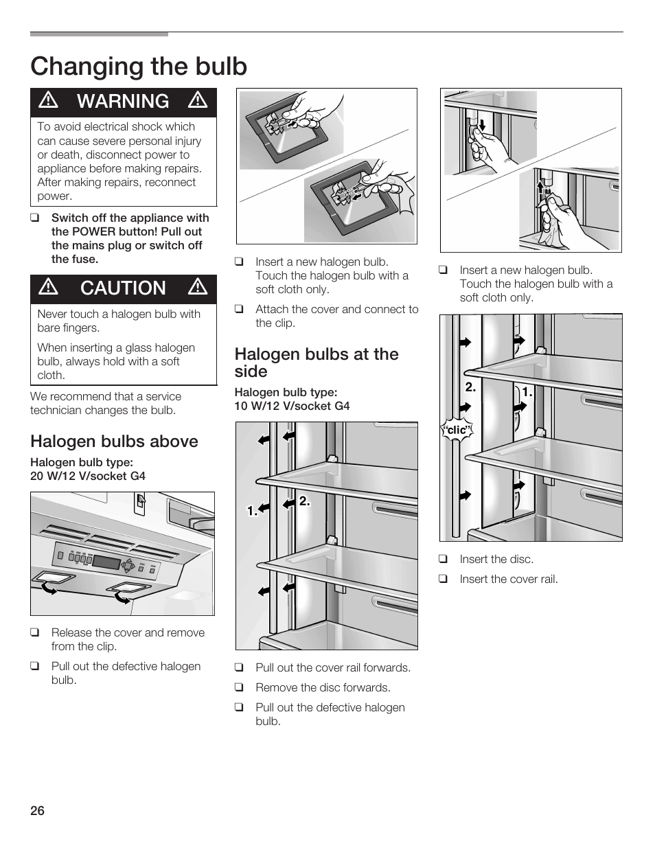 Changing The Bulb Warning Caution Thermador Bottom Freezer Warn Halogen Light Wiring Diagram 9000189698 User Manual Page 26 88