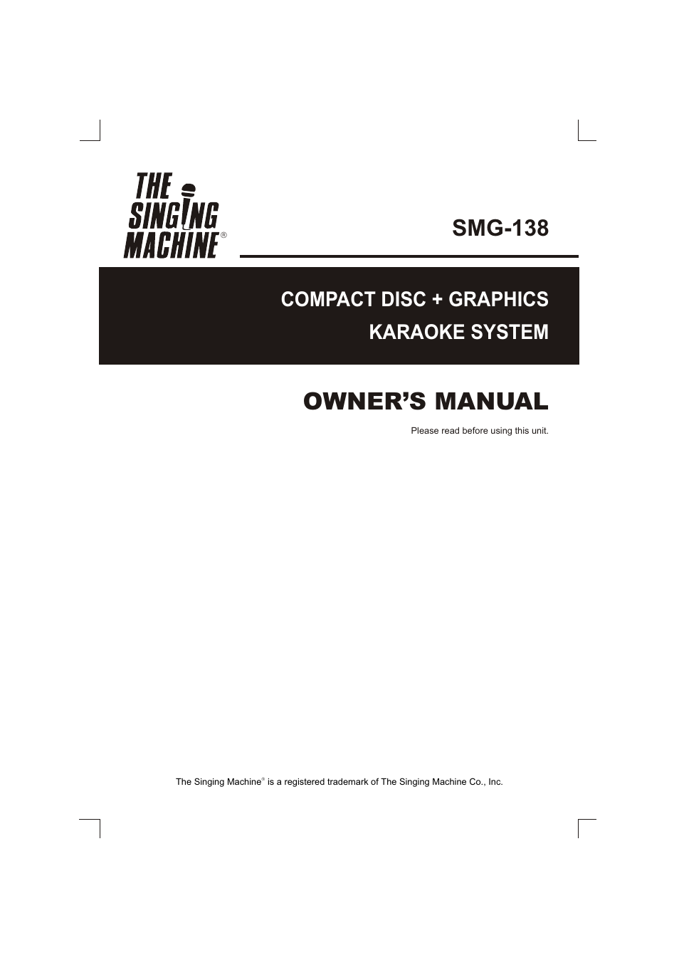 the singing machine smg 138 user manual 20 pages Craig Karaoke Machine Karaoke Vision Singing Machine