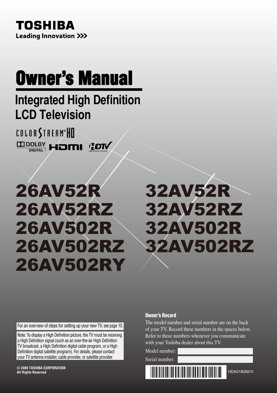 toshiba 26av502rz user manual 64 pages also for 32av52rz rh manualsdir com toshiba 32av502r service manual toshiba model 32av502r manual