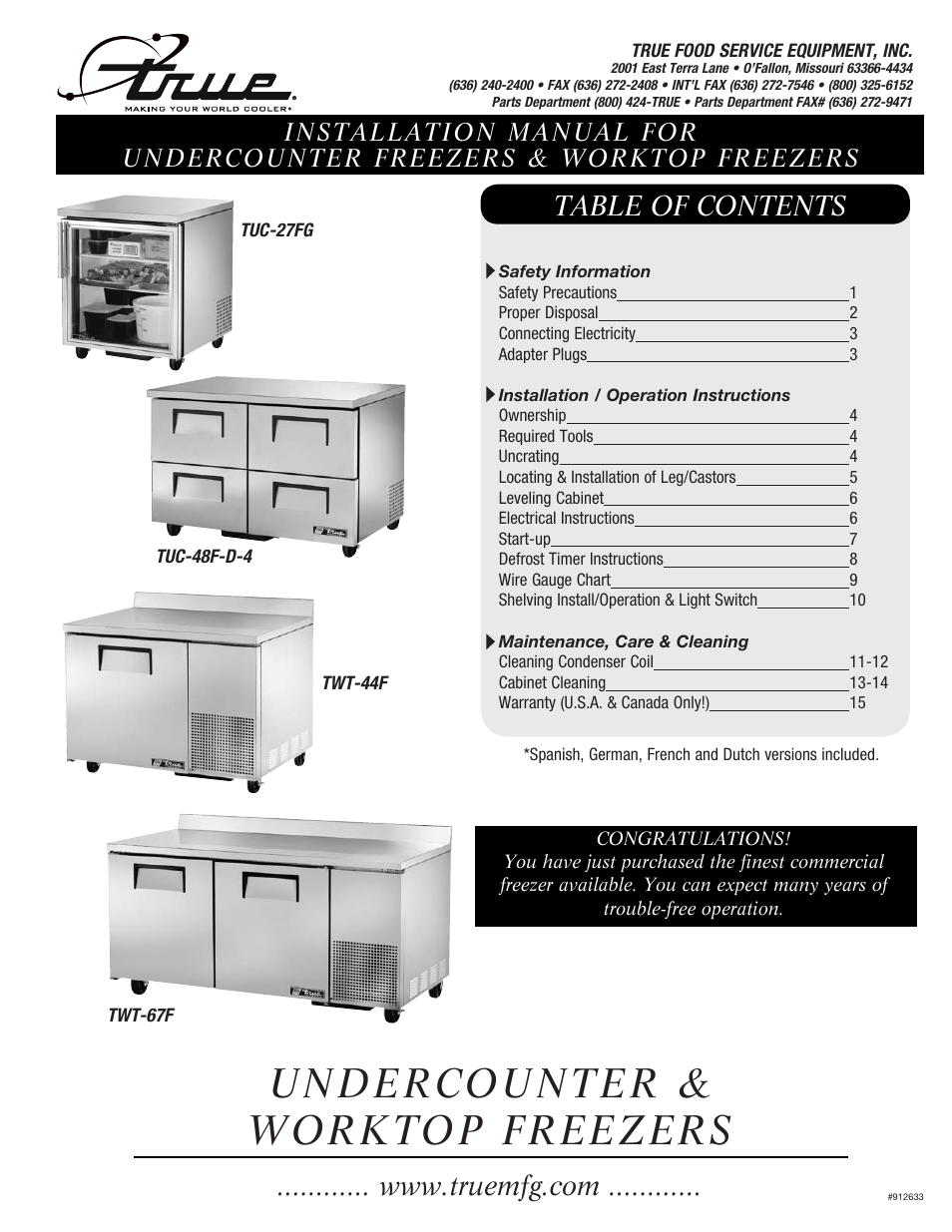 True Manufacturing Company TWT-60F User Manual | 17 pages | Also for ...
