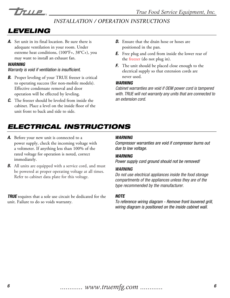 Electrical instructions, Leveling | True Manufacturing Company TWT ...