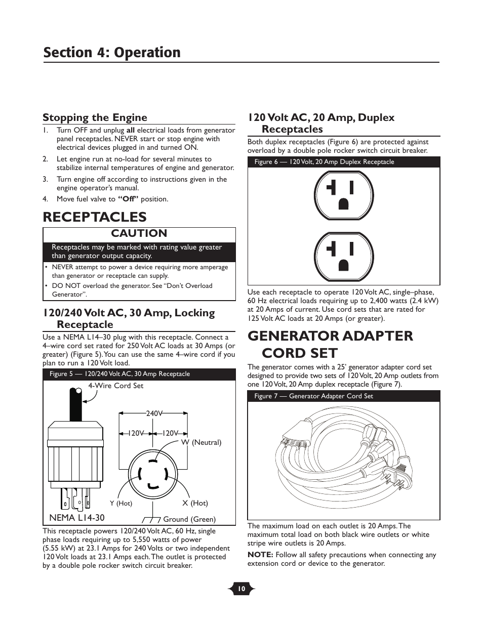 Receptacles Generator Adapter Cord Set Stopping The Engine Troy Wiring A L1430 Plug Bilt 030245 User Manual Page 10 28