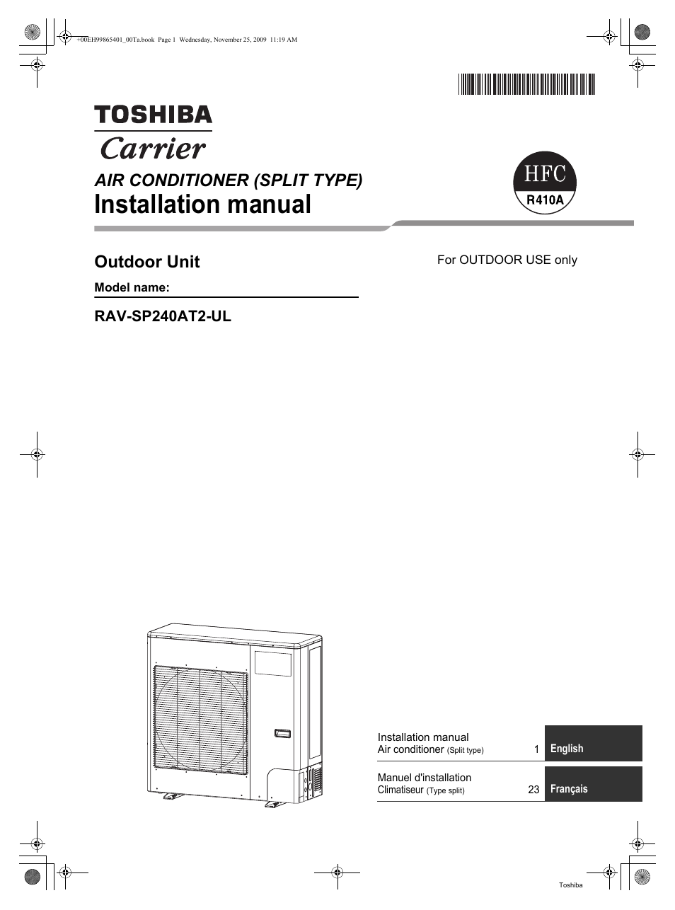 Toshiba Carrier Rav Sp240at2 Ul User Manual 24 Pages Air Conditioning Schematic 25 11