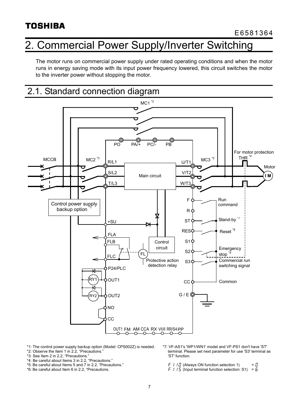 Commercial power supply/inverter switching, Standard connection diagram    Toshiba VF-AS1 User Manual   Page 8 / 10Manuals Directory