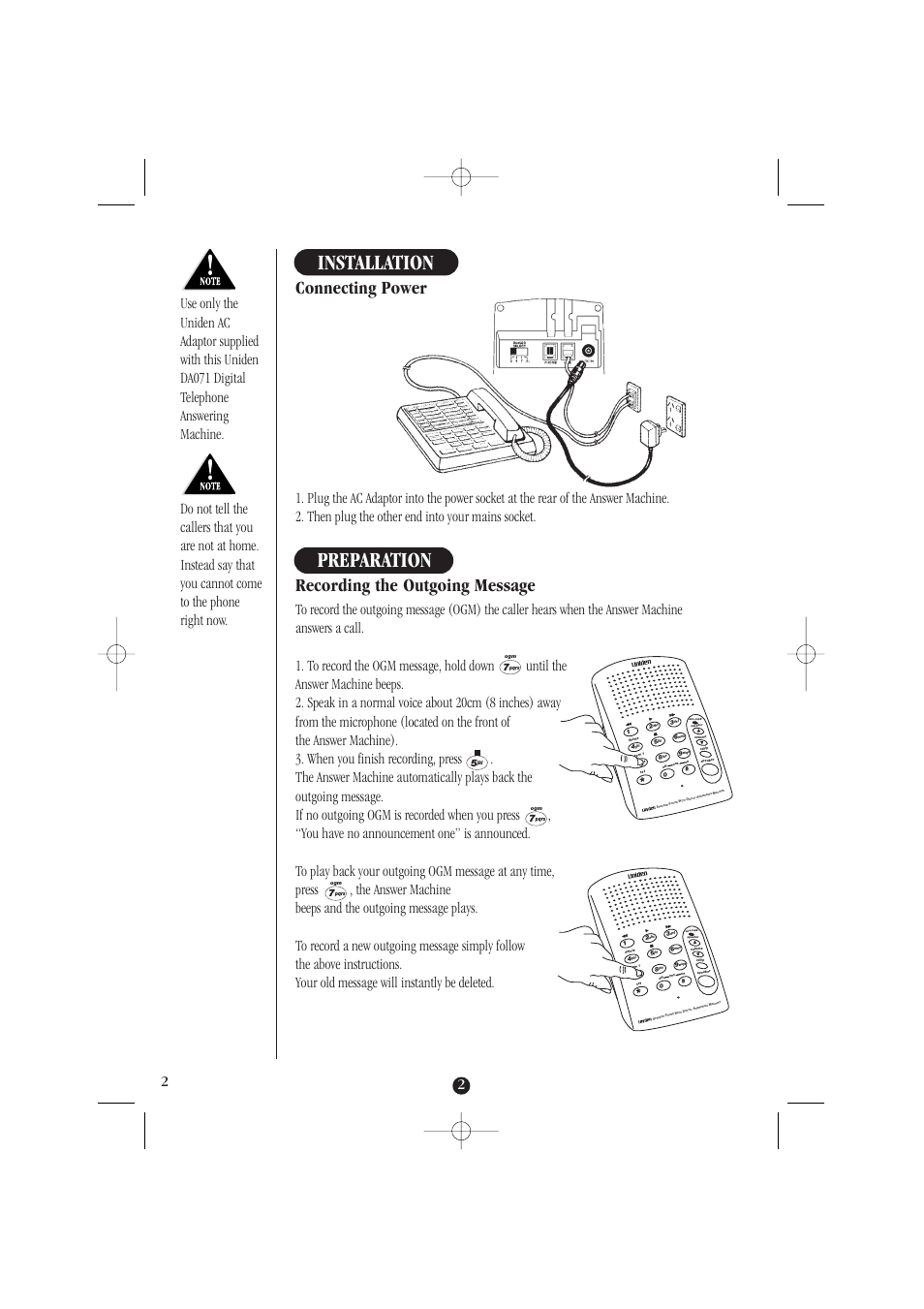 Uniden User Manuals Headset Wiring Diagram Installation Preparation Connecting Power Da071 Rh Manualsdir Com 58 Manual Guide