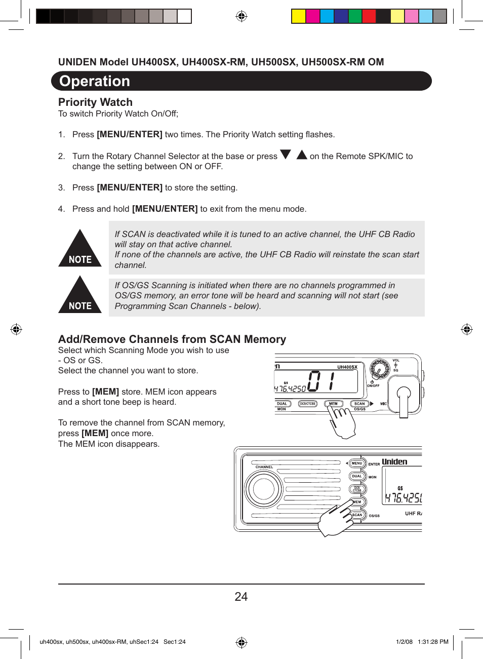 operation priority watch uniden uh400sx user manual page 26 36 rh manualsdir com Uniden Bearcat Scanner Manual Uniden Home Security System