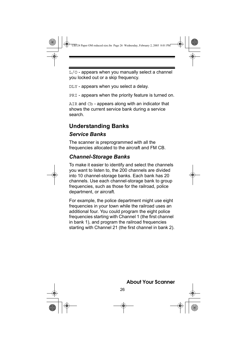 Understanding banks | Uniden UBC92XLT User Manual | Page 26 / 52