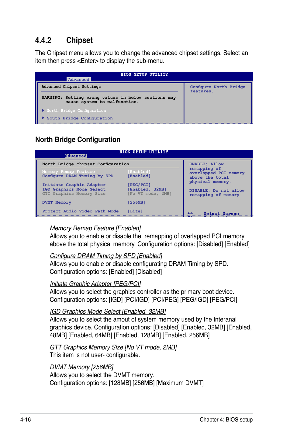 2 chipset, Chipset -16, North bridge configuration | Asus T5