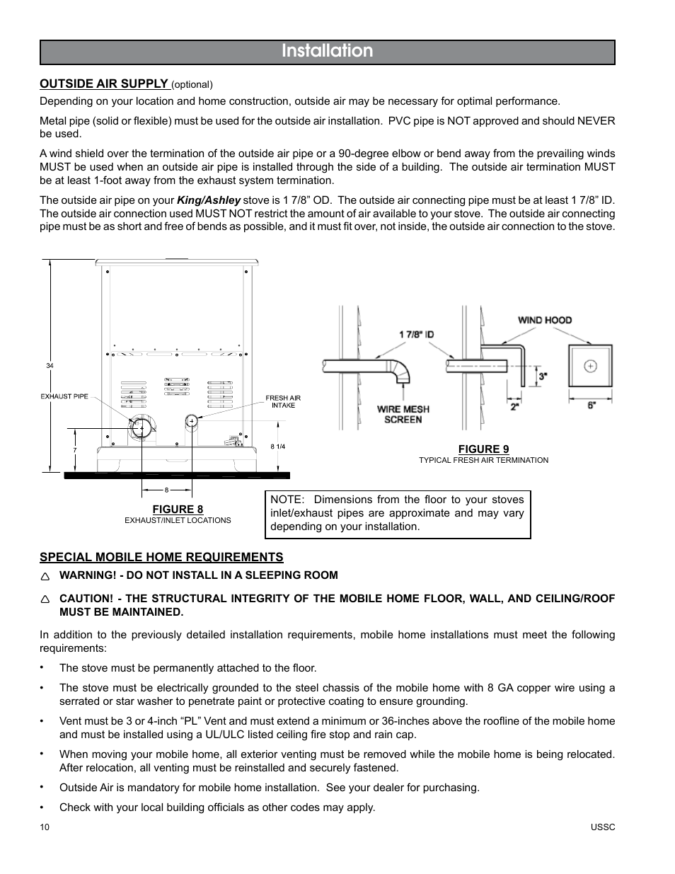 Installation | United States Stove Company KING/ASHLEY PELLET STOVE 5500M User  Manual | Page
