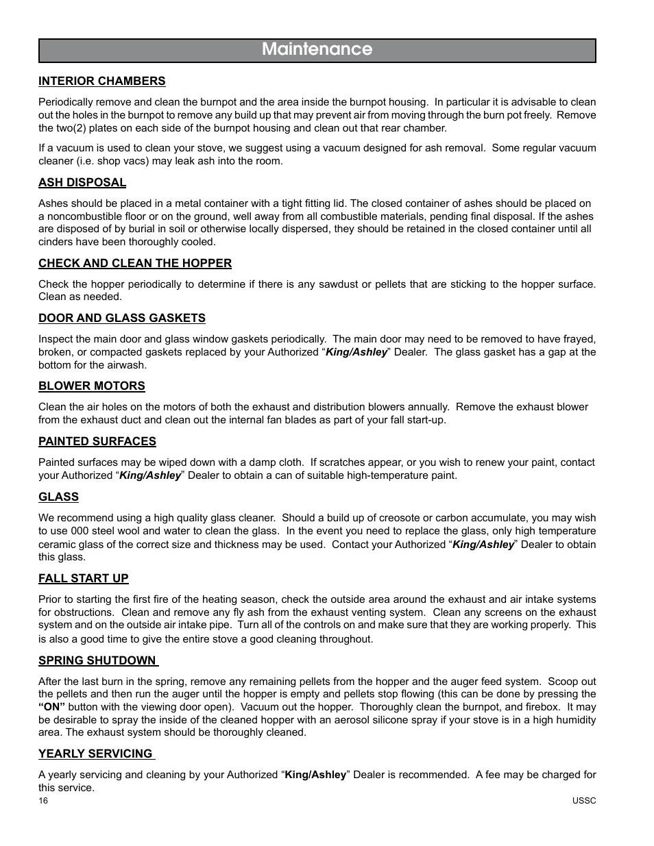 maintenance united states stove company king ashley pellet stove rh manualsdir com Kenmore Stove Manual Frigidaire Electric Stove and Ovens