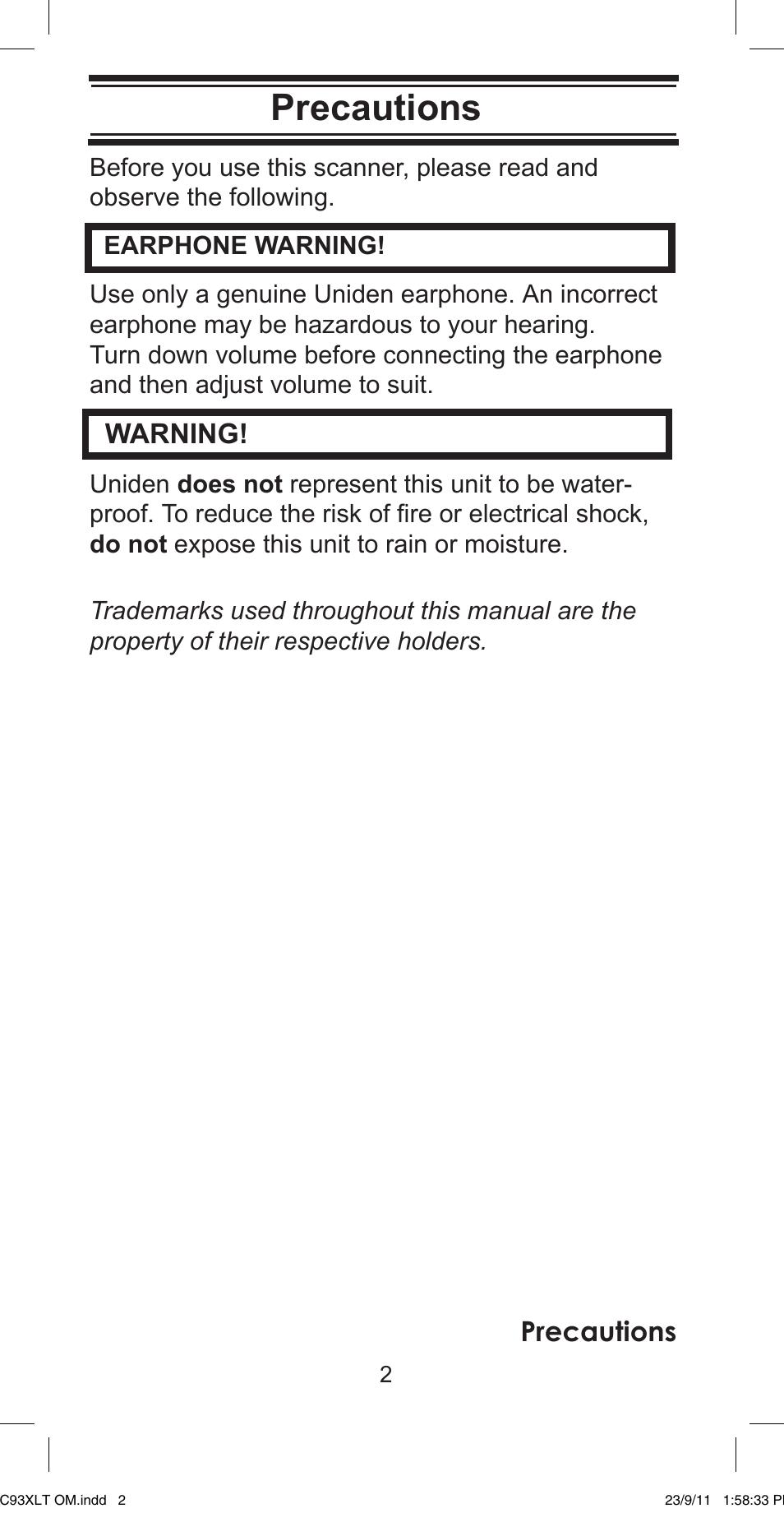 precautions warning uniden ubc93xlt user manual page 2 60 rh manualsdir com